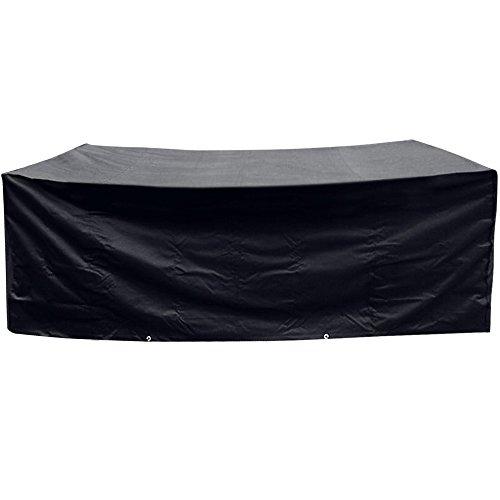 Anpro Möbel Schutzhülle 200x160x70cm Polyester Möbel Abdeckhaube mit 2 Polyesterseile für Gartenmöbel Tisch Stühle Schwarz