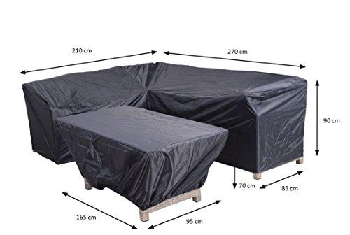 Garden Impressions Reißfeste Schutzhülle aus Ripstop-Polyestergewebe z B für Lounge Möbel Vancouver Links in praktischer Tragetasche 2-teilig 270210x85 x H90 und 165x95 x H70 cm 70868