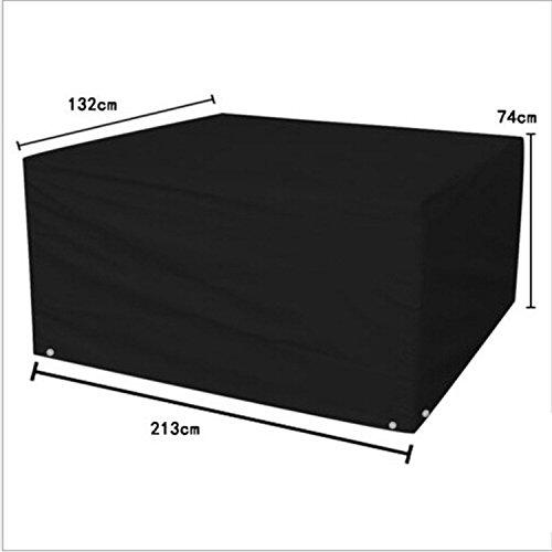 logei Abdeckung Gartenmöbel Abhaube Möbel Schutzhülle Abdeckplane für rechteckige Gartentische Möbelsets Schwarz 213 x 132 x 74cm cm