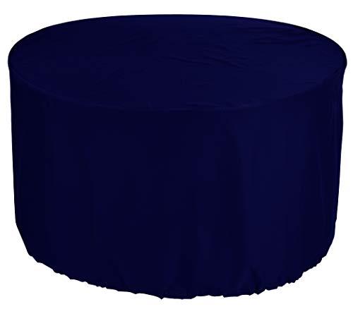 KaufPirat Premium Abdeckplane Rund Ø 140 x 75 cm Dunkelblau Gartenmöbel Gartentisch Abdeckung Schutzhülle Abdeckhaube Outdoor Round Patio Table Cover