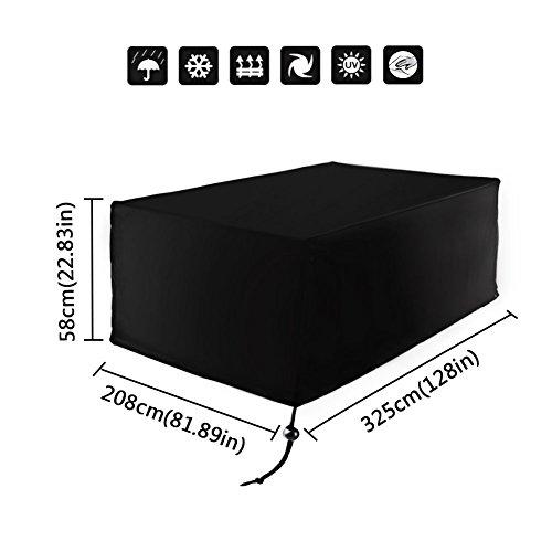 Xiliy Wasserdicht Abdeckung Rechteckig Schutzhülle für Tisch Stühle Gartenmöbel Set 325 x 208 x 58cm