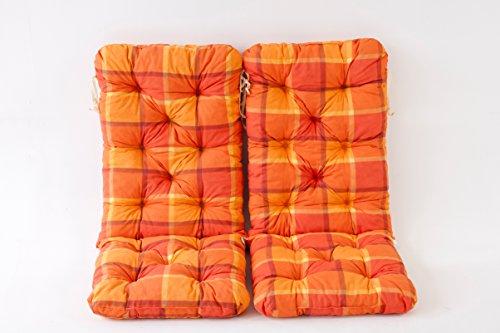Ambientehome 2er Set Hochlehner Auflage Kissen Hanko Maxi kariert orange ca 120 x 50 x 8 cm Rückenteil ca 70 cm Polsterauflage