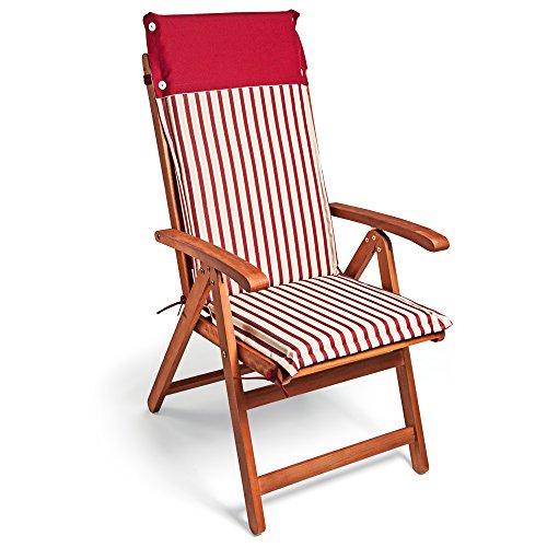 Detex Stuhlauflage Vanamo  6er Set Wasserabweisend  Hochlehner Auflage Sitzauflage Stuhlkissen Polsterauflage Rot Weiß