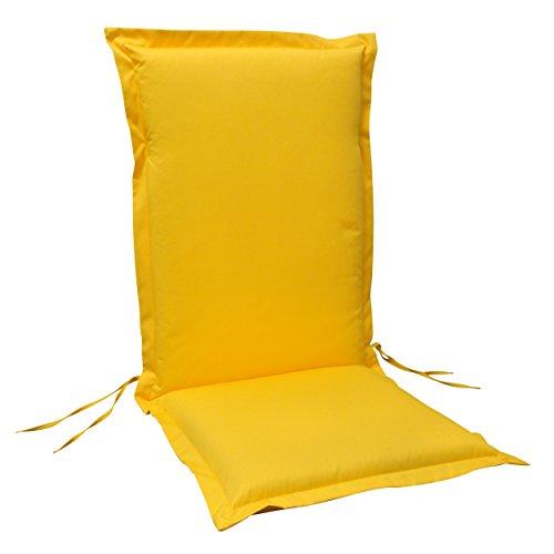 IND-70442-AUHL Sitzauflage Hochlehner Premium extra dicke Polsterauflage mit Reißverschluss 120 x 50 x 9 cm Gelb