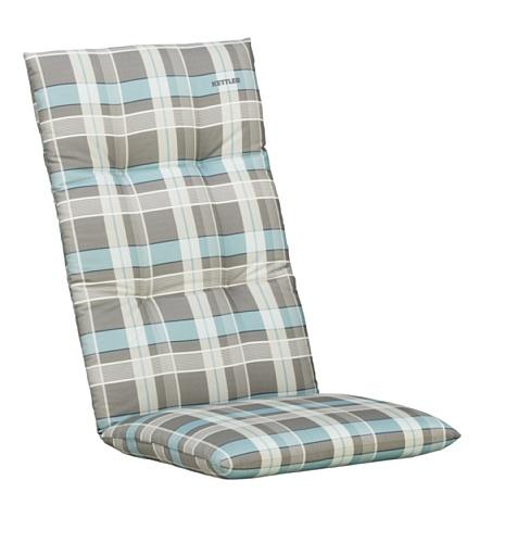 Kettler Sesselauflage für Hochlehner – komfortable Stuhlauflage mit Kreisheftung und Karomuster – 120 cm hohe Polsterauflage aus Baumwolle – türkis grau