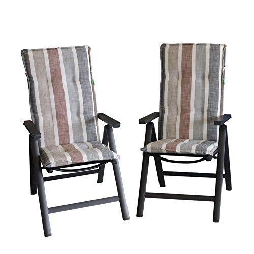Multistore 2002 2 Stück Elegante Gartenstuhlauflage Brooklyn Stuhlauflage Polsterauflage für Hochlehner 120x50cm - 6cm Dick Sitzauflage Sitzpolsterauflage Sitzkissenpolster