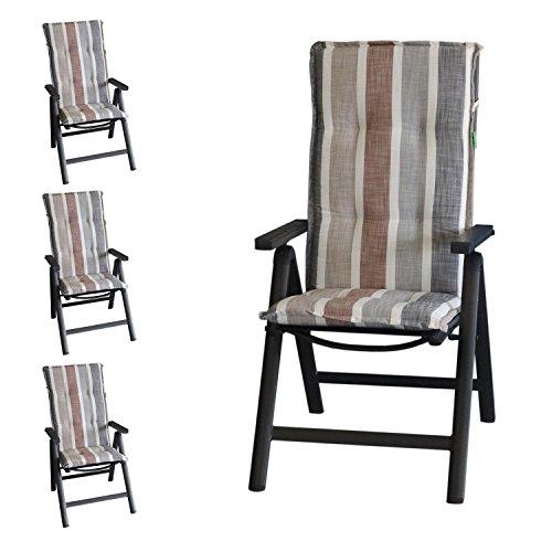 Multistore 2002 4 Stück Elegante Gartenstuhlauflage Brooklyn Stuhlauflage Polsterauflage für Hochlehner 120x50cm - 6cm Dick Sitzauflage Sitzpolsterauflage Sitzkissenpolster