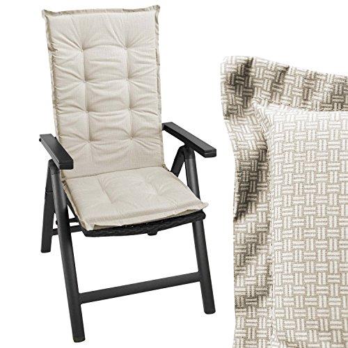 Wohaga Sitzkissen Auflage für Gartenstühle Stuhlauflage Sitzpolster Polsterauflage Gartenstuhlauflage Sitzauflage Sitzpolsterauflage Sitzkissenpolster für Hochlehner 112x45cm - 4cm dickbeige