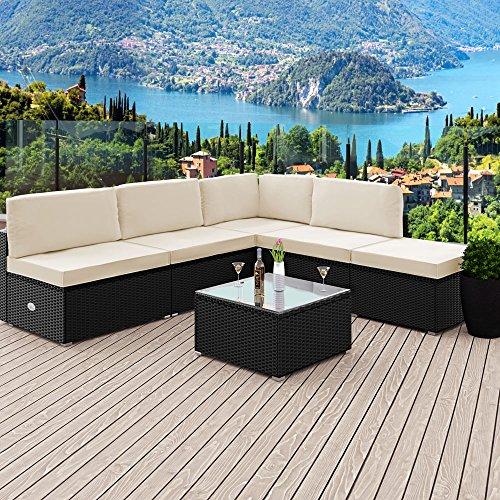 Deuba XXL Poly Rattan Lounge Set schwarz  7cm Dicke Sitzkissen Creme  Elemente flexibel kombinierbar  UV-beständiges Polyrattan - Sitzgruppe Sitzgarnitur Gartenmöbel Garten Set