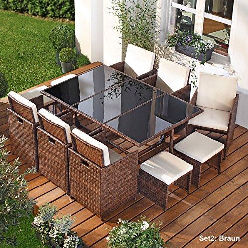 Polyrattan Gartenmöbelset Camouflage 11tlg Braun Poly Rattan Sitzgarnitur Gartenmöbel Garten-Garnitur Gartenset Sitzgruppe Lounge Essgruppe Tisch Sessel Stühle