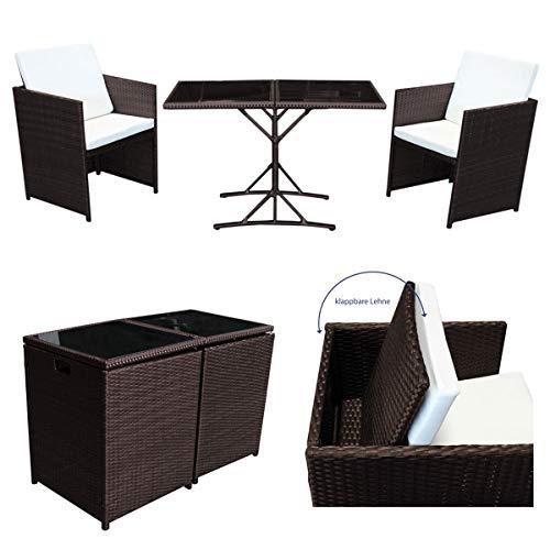 SVITA Poly Rattan Sitzgruppe Essgruppe Set Farbwahl - Cube Sofa-Garnitur Gartenmöbel Lounge Farbwahl 2er Garnitur Braun