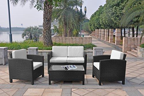 XINRO 13tlg Deluxe Lounge Möbel Set Gruppe Garnitur Gartenmöbel Lounge Set Rattan Polyrattan Sitzgruppe - inkl Lounge Sofa  Sessel  Tisch  Glasplatte  mit Kissen - InOutdoor - handgeflochten - schwarz