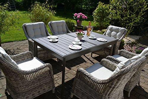 bomey Rattan Lounge Set I Gartenmöbel Set Como 7-Teilig I Essgarnitur mit Polstern I Sitzgruppe Grau  Tisch Ausziehbar  Polster Beige I Dining Lounge für Terrasse  Wintergarten