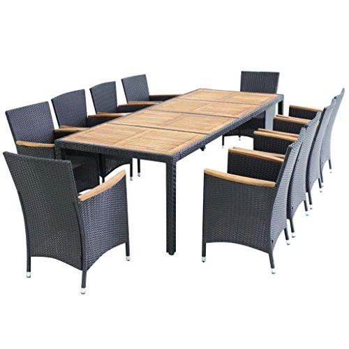 vidaXL Essgruppe 21-TLG Poly Rattan Gartenmöbel Set Sitzgruppe Gartengarnitur