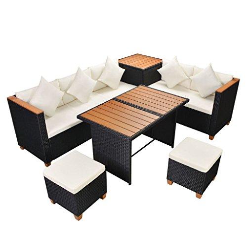 vidaXL Garten Essgruppe 22-TLG Poly Rattan WPC Schwarz Lounge Set Gartenmöbel