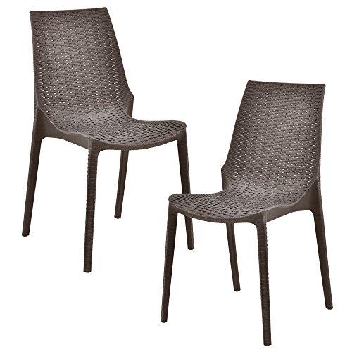 casapro 2 x Stuhl in Rattan-Optik Kunststoff Gartenstuhl wetterfest braun