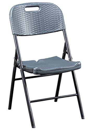 CONP Klappbarer Stuhl Rattan-Optik Kunststoff anthrazit 50 x 45 x 88 cm B46503