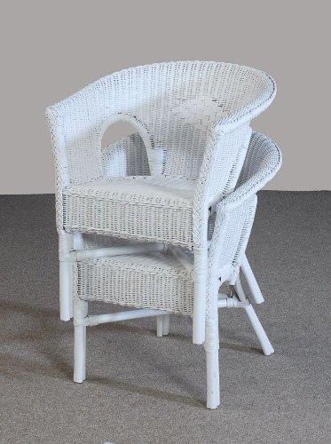 Stuhl weiß Sessel NEU in der Farbe weiß zweier Set aus Rattan