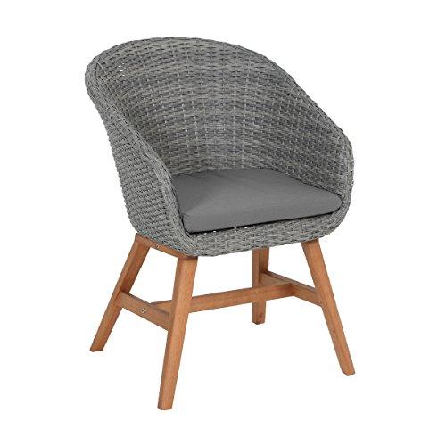 greemotion 128574 Rattansessel Madeira für Balkon Garten Terrasse-Rattanstuhl grau-Outdoor Stuhl aus Rattan mit Auflage Polster-Lounge Sessel mit Holzbeinen 62 x 72 x 45 cm