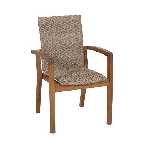 greemotion 129010 Rattanstuhl Toledo für Balkon Garten Terrasse-Hochlehner Gartenstuhl in Braun-Lounge Stuhl aus Rattan Armlehne Stuhlbeine aus Akazien Holz 58 x 63 x 9 cm