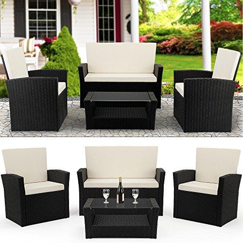 Deuba Poly Rattan 41 Lounge schwarz  7cm Sitzauflagen  2 Sessel  1 Bank  1 Tisch 5 mm Sicherheitsglasplatte  Abnehmbare Waschbare Bezüge  Modellauswahl - Sitzgarnitur Gartenmöbel Set Balkon