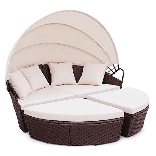 Poly Rattan Sunbed Lounge Gartenset Sofa Garnitur Polyrattan Gartenmöbel Braun