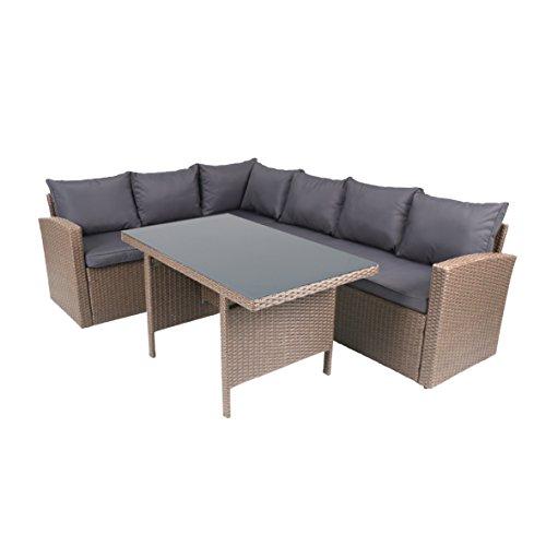 """Rattan-Lounge """"Solia"""" - Gartenmöbel-Set 3-teilig aus Polyrattan in Grau mit Auflagen in Anthrazit - Design-Loungeset für Outdoor Indoor mit 1x Tisch 2 x Sofa mit Armlehne Glastisch"""