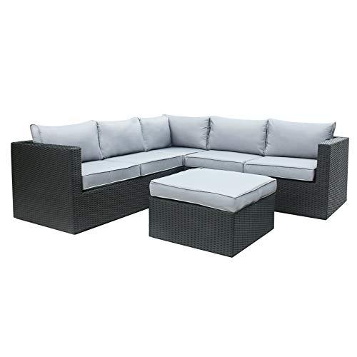 Rattan Polyrattan Lounge Sitzgruppe Garnitur Gartenmöbel 5 Sitze mit Hocker Aluminium Rahmen Fertig Montiert