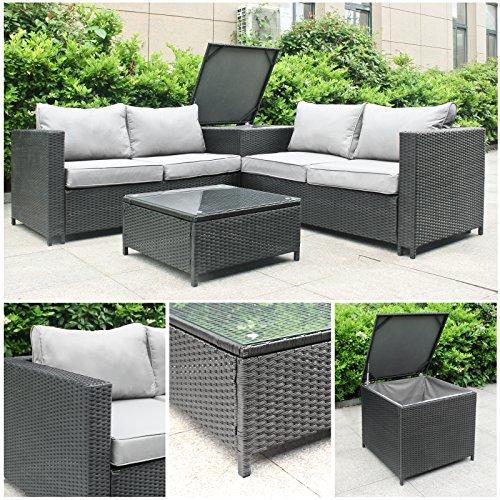 Rattan Polyrattan Lounge Sitzgruppe Garnitur Gartenmöbel aus 4 Sitze Sofa Aufbewahrungsbox für Kissen Tisch mit Glassplatte