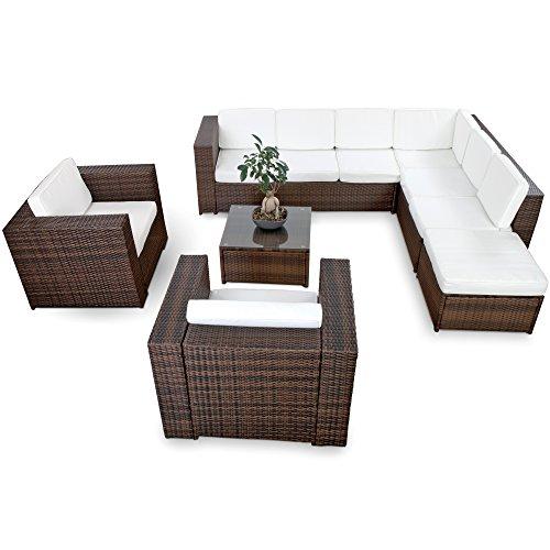 XINRO XXXL 25tlg Polyrattan Gartenmöbel Lounge Möbel günstig  2X 1er Lounge Sessel - Gartenmöbel Lounge Set Rattan Sitzgruppe Garnitur - InOutdoor - mit Kissen - handgeflochten - braun