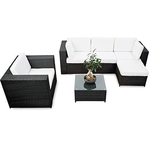 XINRO erweiterbares 18tlg Lounge Set Polyrattan kaufen - schwarz - Sitzgruppe Garnitur Gartenmöbel Rattan Lounge XXL - inkl Lounge Sessel  Ecke  Hocker  Tisch  Kissen