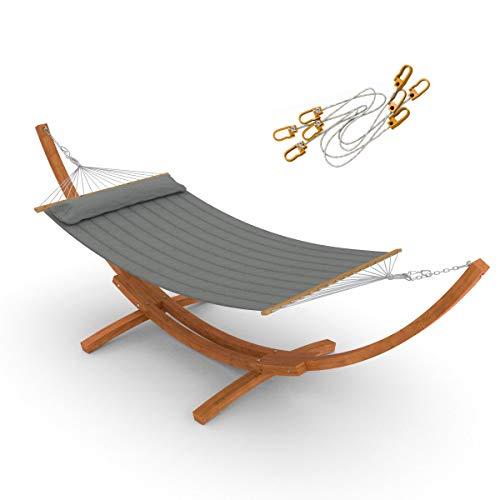 Ampel 24 Hängematte im Set mit Sicherung und Holz Gestell Madagaskar 400 cm Hängemattengestell braun Stabhängematte gepolstert mit Kissen Bezug grau