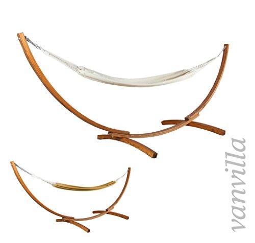 vanvilla Hängematte mit Gestell aus Lärche BAROS 360cm x 120cm weiße Hängematte verzinkte Stahlteile Holz Teakfarben Hängemattengestell Holz