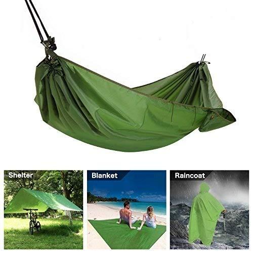 Multifunktions Camping Hängematte 4 in 1 Outdoor Camping Hängematte - Wasserdicht Hängematte Regen Fly Zelt Plane - Camping Decke - Regenmantel für Outdoor Aktivitäten