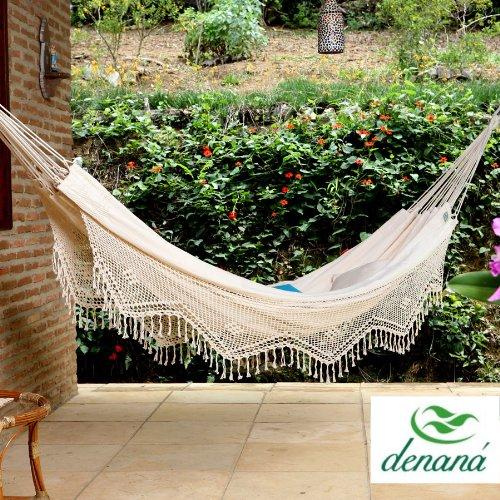 Denana Doppel Hängematte Natural mit Borte aus 100 Baumwolle Tuchhängematte