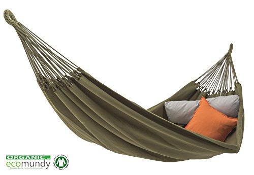 ECOMUNDY Pure BIO XL 380 grün - Moderne Premium Doppel Hängematte - handgewebt - Bio Baumwolle - GOTS - 160x260x380 cm - 250 kg