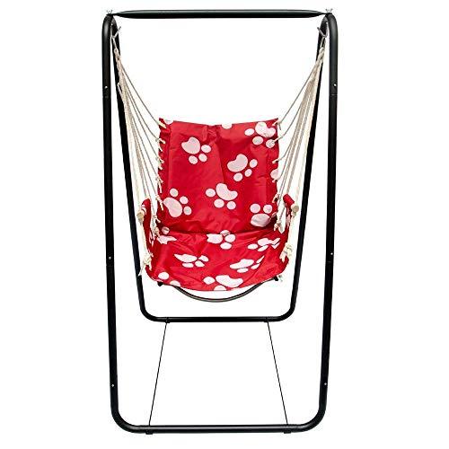 Hängesesselgestell mit Hängestuhl Schaukel für Kinder und Erwachsene Komplettset Metall-Gestell mit Hängesitz in Rot für Innen und Außen