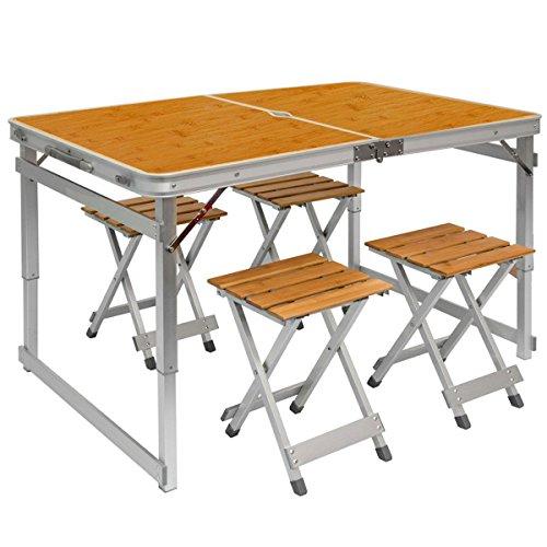 AMANKA klappbarer stabiler Campingtisch 110x70x70cm inkl 4 Metall-Falt-Hocker Campingtisch Set höhenverstellbar Bambus Holz Optik