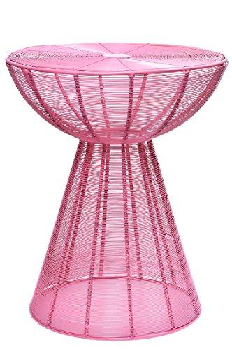 MAADES Retro Design Shabby Chic Hocker Beistelltisch Sitzhocker Metall Rund NEU - Garrocha Hocker Pink