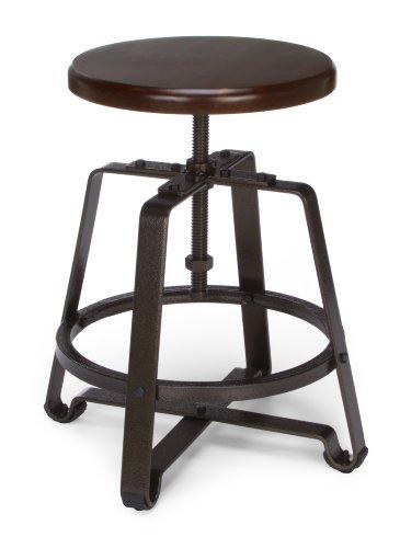 OFM 921-wnt Metall Hocker Stuhl mit Walnuss Sitz dunkel Vein Beine