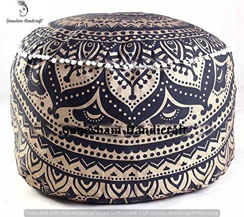 GANESHAM HANDICRAFTS indischen Mandala Tapisserie Bohemian Pouf osmanischen handgefertigt Pouf Pouf Boden Kissenbezug aus Baumwolle Wohnzimmer Decor Boho dekorativ runden Fuß Hocker nur Bezug