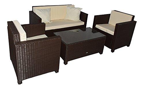Gartenmoebel Garten Lounge Set Sitzmoebel Cannes braun Rattan Lounge Polyrattan Gartenausstattung Jet-Line braun Terrase Balkon Möbel Sofa Sessel Tisch aus echtem Polyrattan Wetterbeständig Sitzgruppe