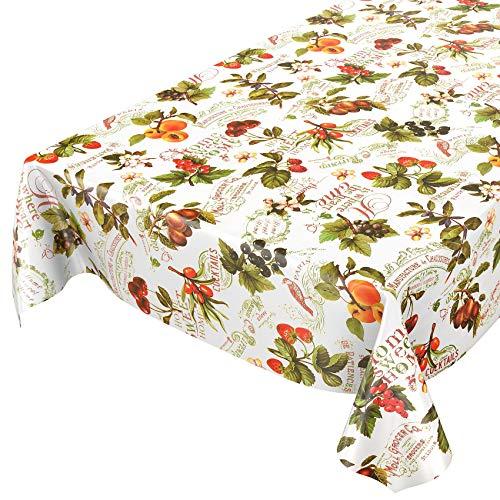 ANRO Tischdecke Wachstischdecke Wachstuch Wachstuchtischdecke Beeren Früchte Obst Landhaus 120 x 140cm eingefasst