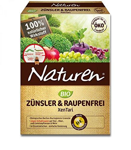 Naturen Zünsler und Raupenfrei XenTari Hoch wirksames biologisches Präparat zur Bekämpfung von Buchsbaumzünsler an Buchsbäumen und Schadraupen an Zierpflanzen Obst Gemüse 16 x 25 g Portionsbeutel