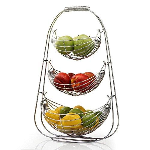 Taylor Braun Verchromte schaukelnde Obst-Hängematte Gemüseschüssel Korb Rack Aufbewahrung Ständer Halter Neu chrom 3 Ablagefächer