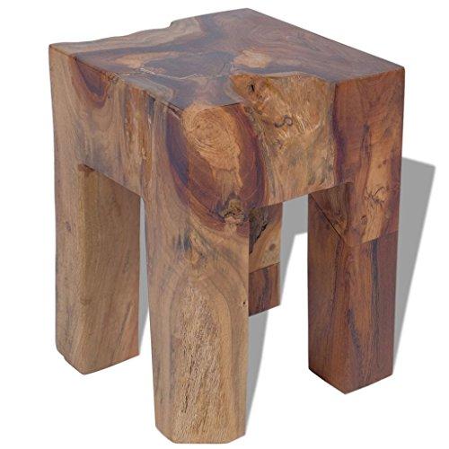 vidaXL Teak Massivholz Hocker Sitzhocker Fußhocker Beistelltisch 30x30x40cm Holz
