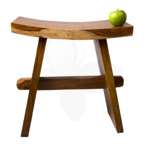 wohnfreuden Teak-Holz Hocker 49 cm Natur Dekoration braun lasiert rechteckig