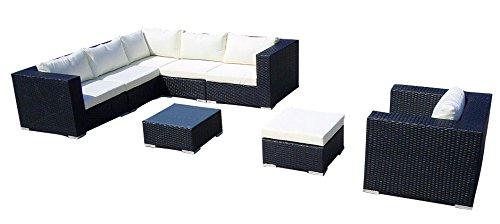 Baidani Gartenmöbel-Sets 10c0000600001 Designer Lounge-Liege Gardendream Ecksofa 1 Sessel 1 Hocker 1 Couchtisch mit Glasplatte schwarz