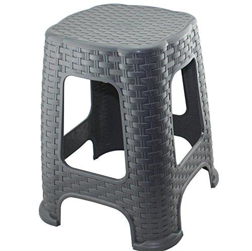 Hoffmanns Sitzhocker 28 x 28 cm Sitzfläche im edler Rattanoptik 45 cm hoch Standfläche 35 x 35 cm … Grau