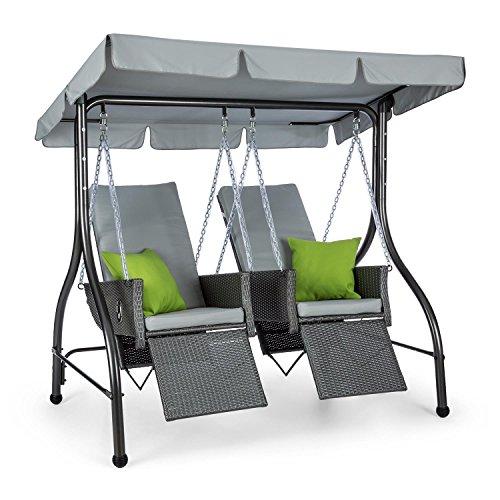 Blumfeldt Concordia • Hollywoodschaukel • Gartenschaukel • aus massivem Stahlrohr • 2 getrennt aufgehängte Sitze aus Polyrattan • max Belastbarkeit 250 kg • Sonnendach • 6 cm dicke Polsterung • grau